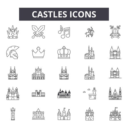 Castles line icons, signs set, vector. Castles outline concept illustration: castle,tower,building,fort,architecture,fortress,medieval