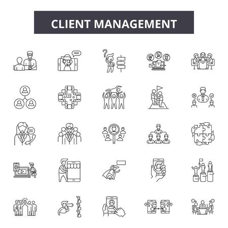 Ikony linii zarządzania klientem, zestaw znaków, wektor. Ilustracja koncepcji zarysu zarządzania klientem: biznes, klient, zarządzanie, klient, usługa, wsparcie, użytkownik, relacja