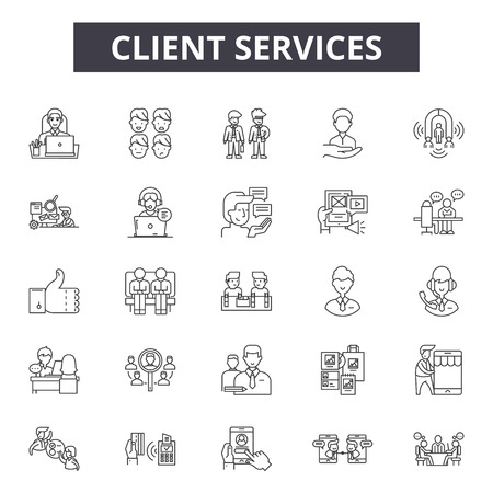 Client services line icons, signs set, vector. Client services outline concept illustration: customer,service,client,support,help,operator,person,business