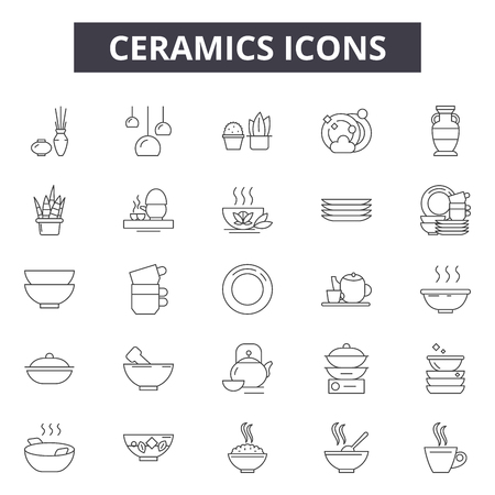 Ceramics line icons, signs set, vector. Ceramics outline concept illustration: ceramic,dedecoration,isolated,home