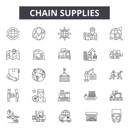 Iconos de línea de suministros de cadena, conjunto de signos, vector. Ilustración de concepto de esquema de suministros de cadena: negocio, suministro, cadena, transporte, industria, entrega, camión, almacén, concepto