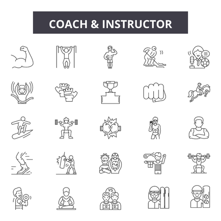 Coach and instructor line icons, signs set, vector. Coach and instructor outline concept illustration: instructor,coach,training,trainer,teacher,education,person,lecture,study Standard-Bild - 120893901