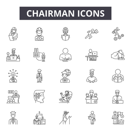 Chairman line icons, signs set, vector. Chairman outline concept illustration: chairman,business,team,office,management,manager,human