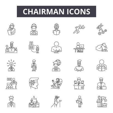 Vorsitzende Linie Symbole, Zeichensatz, Vektor. Illustration des Vorsitzendenentwurfs: Vorsitzender, Geschäft, Team, Büro, Management, Manager, Mensch