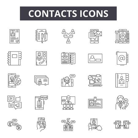 Contacts line icons, signs set, vector. Contacts outline concept illustration: contact,email,phone,telephone,address,mobile,communication,letter