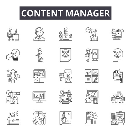 Content manager line icons, signs set, vector. Content manager outline concept illustration: content,management,business,technology,internet,web,network,information