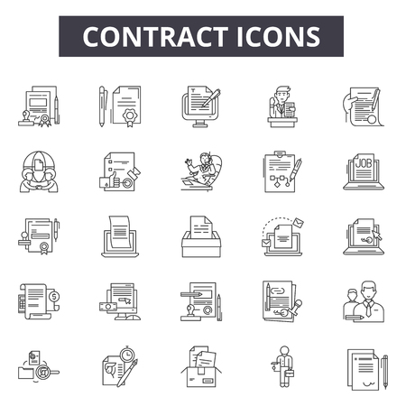 Contract line icons, signs set, vector. Contract outline concept illustration: contract,document,agreement,business,paperature
