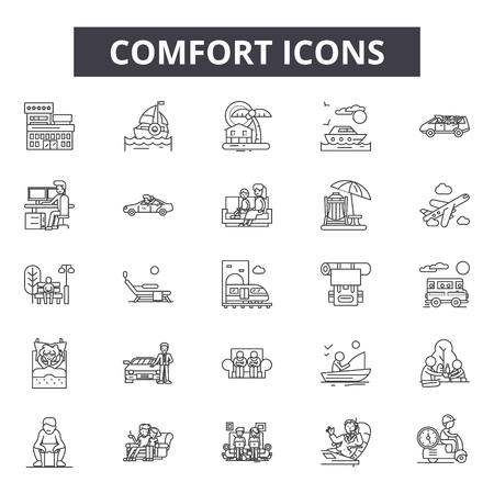 Comfort line icons, signs set, vector. Comfort outline concept illustration: comfortable,decomfort,outline Reklamní fotografie - 123581936