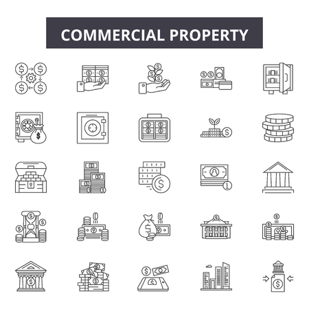 Commercial property line icons, signs set, vector. Commercial property outline concept illustration: commercial,property,estate,home,real,house,residential,building,symbol Banco de Imagens - 120893991