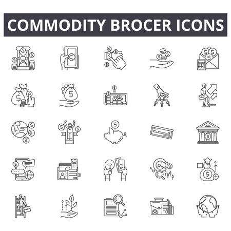 Commodity brocer line icons, signs set, vector. Commodity brocer outline concept illustration: Top 36 Keywords:,commodity,kernel,sweet,farmer,silhouette,grocery,cob,s
