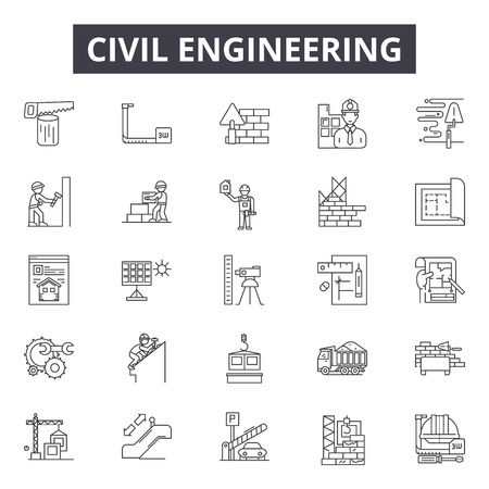 Civil engeneering line icons, signs set, vector. Civil engeneering outline concept illustration: skyhouse,web,civil,dehelmet,builder,construction