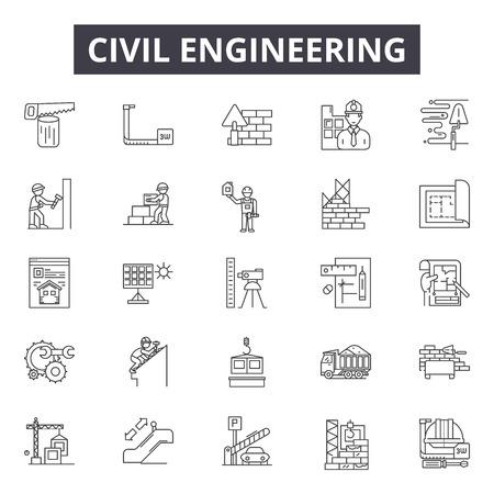 Iconos de línea de ingeniería civil, conjunto de signos, vector. Ilustración del concepto de esquema de ingeniería civil: skyhouse, web, civil, dehelmet, builder, construction