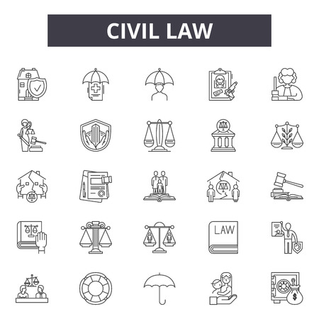 Civil law line icons, signs set, vector. Civil law outline concept illustration: lawyer,business,law,judge,criminal,civil,court,line