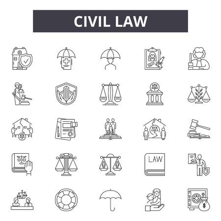 Civil law line icons, signs set, vector. Civil law outline concept illustration: lawyer,business,law,judge,criminal,civil,court,line