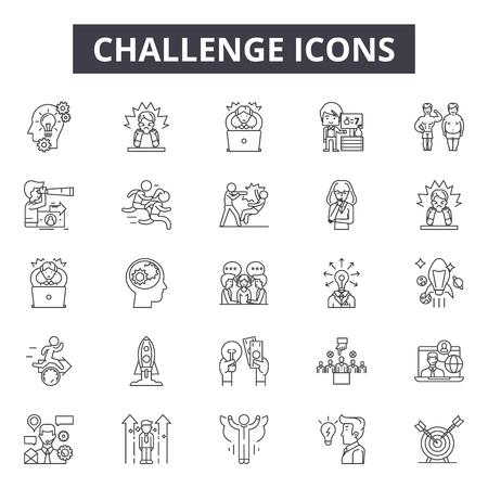 Challenge line icons, signs set, vector. Challenge outline concept illustration: challenge,business,success,achievement,successful,leadership,mountain Stock Illustratie