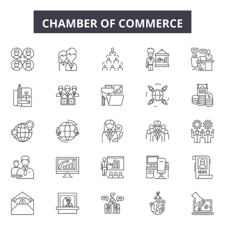 Chambers of commerce line icons, signs set, vector. Chambers of commerce outline concept illustration: commerce,chamber,business,concept,chamber of commerce,deoffice design Stock Illustratie