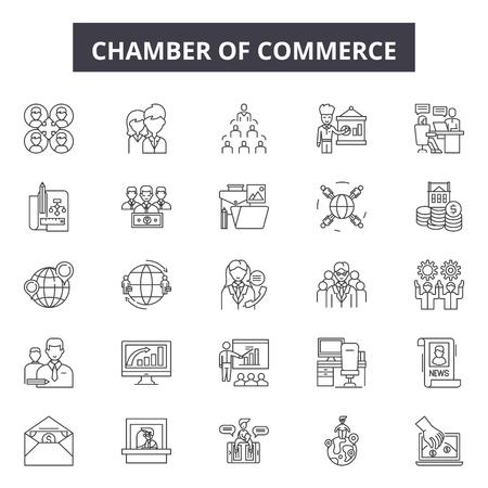 Kamers van Koophandel lijn pictogrammen, borden set, vector. Kamers van koophandel schetsen concept illustratie: handel, kamer, bedrijf, concept, kamer van koophandel, kantoor ontwerp