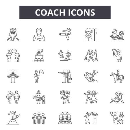 Coach system line icons, signs set, vector. Coach system outline concept illustration: system,management,business,concept,team,career,success,coach Illustration