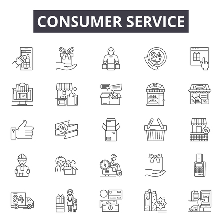 Consumer service line icons, signs set, vector. Consumer service outline concept illustration: service,consumer,customer,business,marketing,help