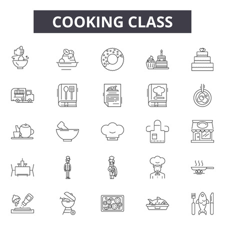Cooking class line icons, signs set, vector. Cooking class outline concept illustration: food,kitchen,cooking,restaurant,class,cook,chef