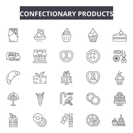 Confectionary products line icons, signs set, vector. Confectionary products outline concept illustration: food,dessert,sweet,chocolate,confectionary,candy,product