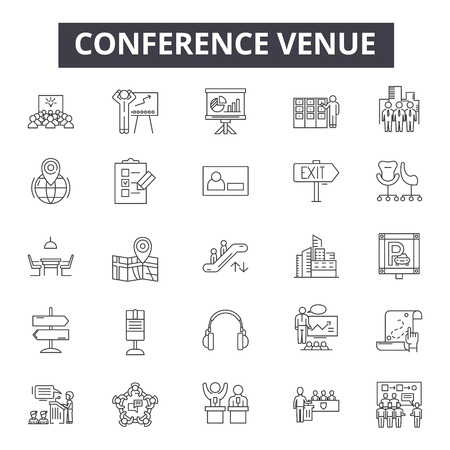 Conference venue line icons, signs set, vector. Conference venue outline concept illustration: modern,venue,conference,business,office,frame,international,tall,construction Ilustración de vector