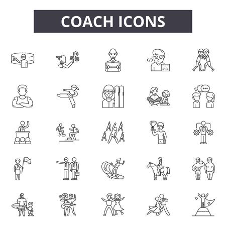 Icônes de ligne d'entraîneur, ensemble de signes, vecteur. Illustration de concept de contour d'entraîneur : entreprise, formation, entraîneur, gestion, entraîneur, personnes Vecteurs