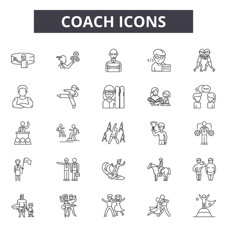 Coach line icons, signs set, vector. Coach outline concept illustration: business,training,coach,management,trainer,people