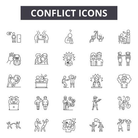 Icone della linea di conflitto, set di segni, vettore. Illustrazione del concetto di contorno di conflitto: conflitto, affari, persone, deflazione