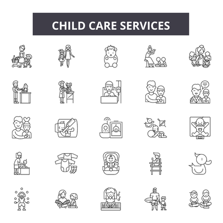 Child care service line icons, signs set, vector. Child care service outline concept illustration: care,child,service,heart,love,hand,family