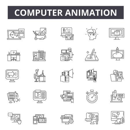 Icônes de ligne d'animation informatique, ensemble de signes, vecteur. Illustration de concept de contour d'animation par ordinateur : animation, ordinateur, devideo, technologie, web