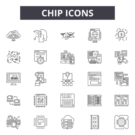Chip line icons, signs set, vector. Chip outline concept illustration: chip,technology,computer,isolated,board,cpu