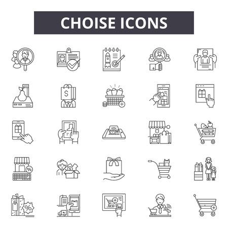 Choise line icons, signs set, vector. Choise outline concept illustration: choise,business,choose,label,best Stock Illustratie