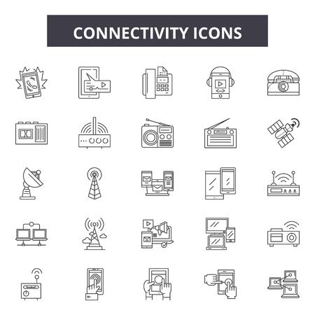Connectivity line icons, signs set, vector. Connectivity outline concept illustration: connection,communication,business,network,desocial