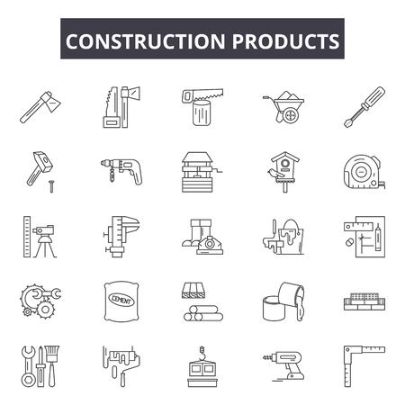 Construction products line icons, signs set, vector. Construction products outline concept illustration: construction,product,white,industry,engineering,building,isolated