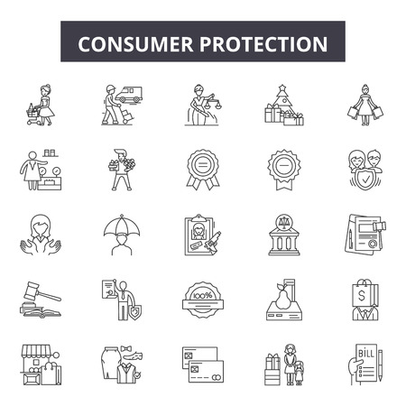 Icônes de ligne de protection des consommateurs, ensemble de signes, vecteur. Illustration de concept de contour de protection des consommateurs : protection, consommateur, entreprise, sécurité, boutique, achat, achat, magasin, symbole
