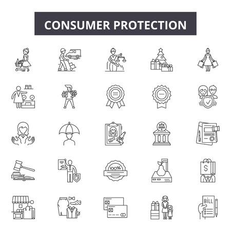 Verbraucherschutz-Liniensymbole, Zeichensatz, Vektor. Illustration des Verbraucherschutzkonzepts: Schutz, Verbraucher, Geschäft, Sicherheit, Geschäft, Kauf, Kauf, Geschäft, Symbol