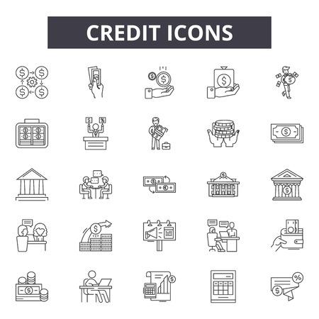 Credit line icons, signs set, vector. Credit outline concept illustration: money,finance,business,credit,banking,bank,card
