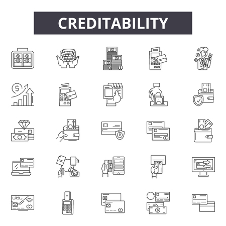 Creditability line icons, signs set, vector. Creditability outline concept illustration: money,finance,business,credit,banking,bank,card