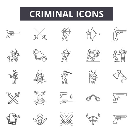 Criminal line icons, signs set, vector. Criminal outline concept illustration: criminal,crime,security,thief,isolated,black