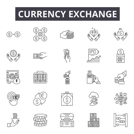 Currency exchange line icons, signs set, vector. Currency exchange outline concept illustration: currency,exchange,money,business,dollar,finance,symbol