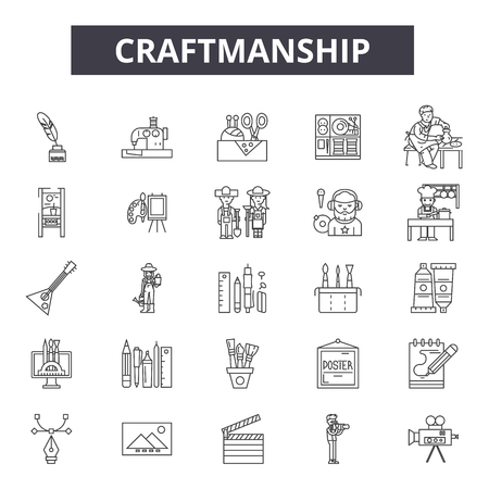 Creaftmanship line icons, signs set, vector. Creaftmanship outline concept illustration: craftsmanship,craft,equipment,hammer,tool,art Çizim