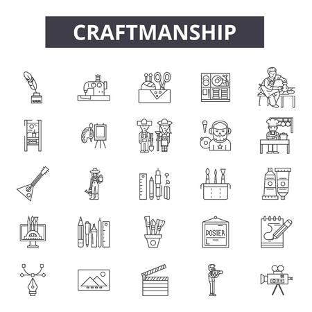Linea di creazione di icone, set di segni, vettore. Illustrazione del concetto di contorno di creatività: artigianato, artigianato, attrezzatura, martello, strumento, arte Vettoriali