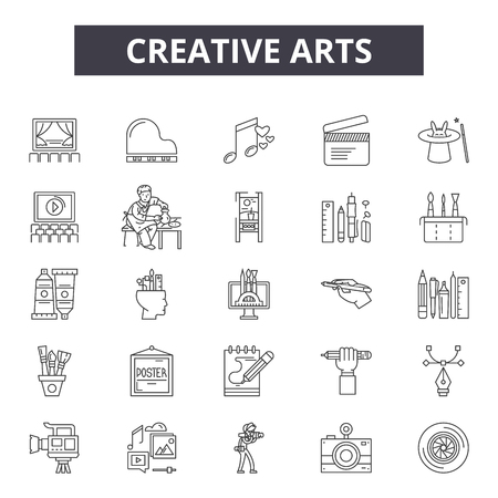 Creative arts line icons, signs set, vector. Creative arts outline concept illustration: art,degraphic,palette,creativity,drawing