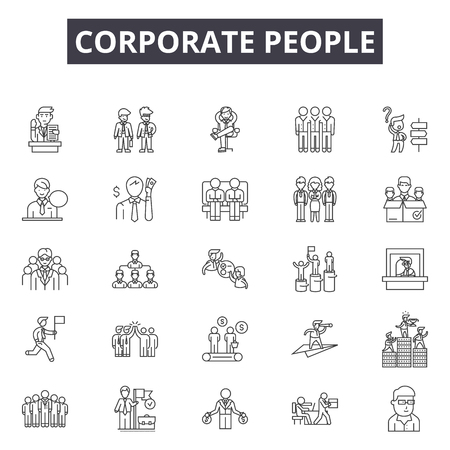 Corporate people line icons, signs set, vector. Corporate people outline concept illustration: social,team,corporate,group,people,business,teamwork,person,partnership