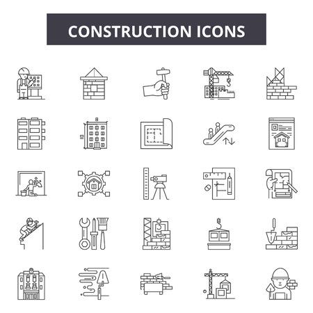 Construction line icons, signs set, vector. Construction outline concept illustration: construction,crane,worker,engineer,helmet