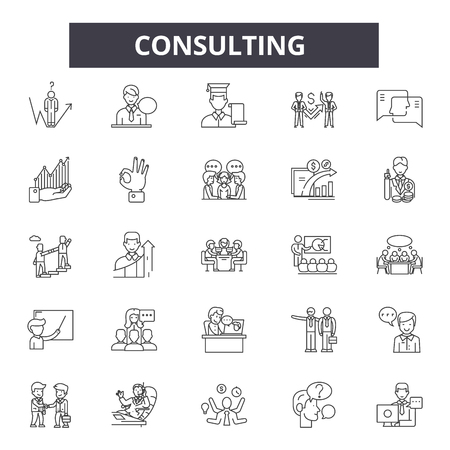 Consulting line icons, signs set, vector. Consulting outline concept illustration: business,consulting,communication,support,service,team