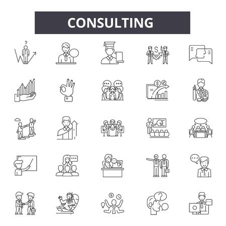 Icônes de ligne de consultation, ensemble de signes, vecteur. Illustration de concept de contour de conseil : entreprise, conseil, communication, support, service, équipe