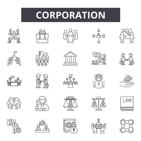 Corporation line icons, signs set, vector. Corporation outline concept illustration: business,corporate,team,management,teamwork Иллюстрация