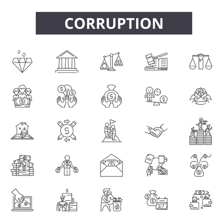 Corruption line icons, signs set, vector. Corruption outline concept illustration: corruption,money,cash,payment,bribe,business,hand